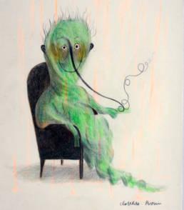 Une illustration encadrée de Clotilde Perrin représentant un personnage dans un fauteuil